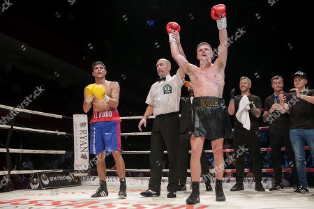 Dylan Moran vs Nelson Altamirano. Dylan Moran celebrates his win