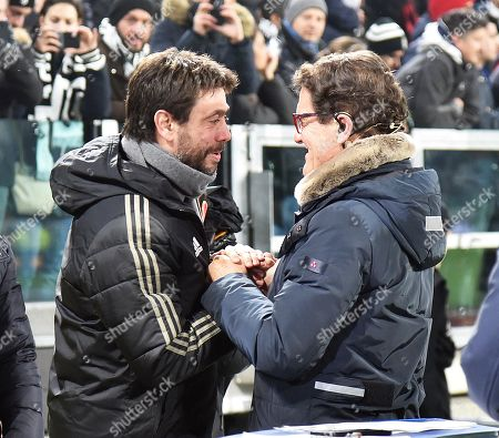Juventus's President Andrea Agnelli (L) and Fabio Capello (R) react before the Italian serie A soccer match Juventus FC vs FC Inter at Allianz Stadium in Turin, Italy, 7 December 2018.