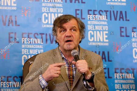 Emir Kusturica (C) speaks during a press conference next to Cuban film director Luciano Castillo (L) during the 40th International Festival of New Latin American Cinema, at the Hotel Nacional, in Havana, Havana, Cuba, 07 December 2018.