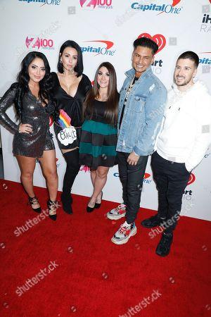 "Stock Image of Angelina Pivarnick, Jennifer "" Jenni J-Woww Farley "" Farley, Deena Nicole Cortese, Paul DelVecchio and Vinny Guadagnino"