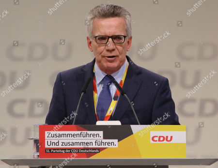 Thomas de Maiziere, speaks on the second day of the 31st Party Congress of the Christian Democratic Union (CDU) in Hamburg, Germany, 08 December 2018. The party's General-Secretary Annegret Kramp-Karrenbauer (unseen) was elected as the new CDU chairwoman on 07 December with the debate going on over the fundamental political orientation of the CDU after Chancellor Merkel will no longer hold this office.