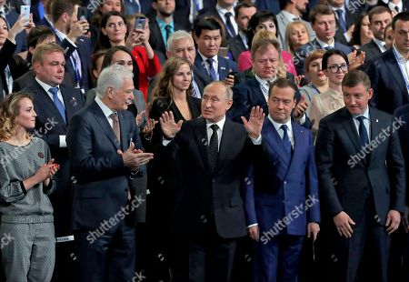Leader of the United Russia party Boris Gryzlov (2-L), Russian President Vladimir Putin (C) and Russian Prime Minister Dmitry Medvedev (2-R) attend the United Russia Party Congress in Moscow, Russia, 08 December 2018. The pro-Kremlin party United Russia is the country's main ruling political party.