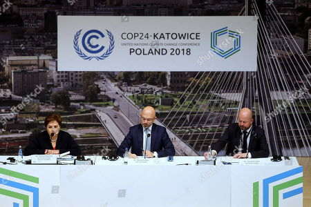 (L-R) Executive Secretary of UN Climate Change Patricia Espinosa, Polish Deputy Minister of the Environment and chairman of the COP24 Michal Kurtyka, and Alexander Saier of Communications and Outreach UN Climate Change attend a press conference during the COP24 summit in Katowice, Poland, 08 December 2018. The COP (Conference of the Parties) summit is the highest body of the UN Framework Convention on Climate Change (UNFCC). Expected at the meeting are close to 30,000 delegates from all over the world, including government leaders and ministers responsible for environmental policy.