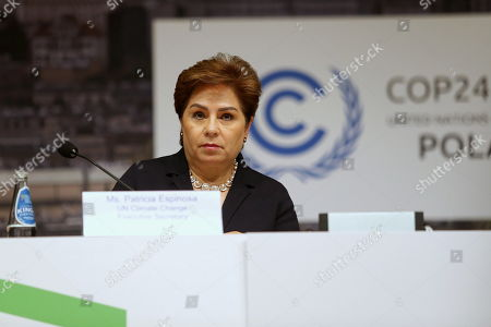 Executive Secretary of UN Climate Change Patricia Espinosa attends a press conference during the COP24 summit in Katowice, Poland, 08 December 2018. The COP (Conference of the Parties) summit is the highest body of the UN Framework Convention on Climate Change (UNFCC). Expected at the meeting are close to 30,000 delegates from all over the world, including government leaders and ministers responsible for environmental policy.