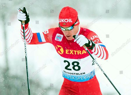 Andrey Melnichenko of Russia is on his way to take the third place in the men's 30km Individual Free competition at the FIS Cross Country Skiing World Cup in Beitostolen, Norway, 08 December 2018.