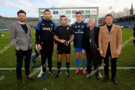 Bath vs Leinster. Bath's Charlie Ewels and Johnny Sexton of Leinster with Referee Mathieu Raynal and coin toss winners George Clarke, Eimear Hayes and Scott Marshall