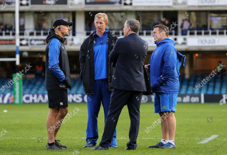 Bath vs Leinster. Bath Attack Coach Girvan Dempsey with Leinster Head Coach Leo Cullen and Team Manager Guy Easterby and Scrum Coach John Fogarty