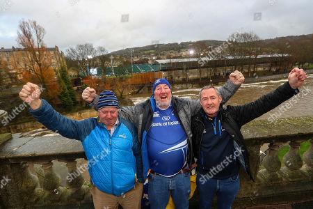 Bath vs Leinster. Leinster fans John McDonald, Liam Burke and Colin Murphy