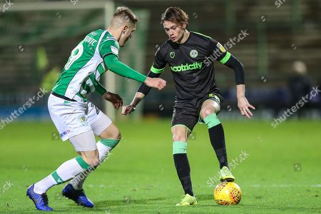 Forest Green Rovers Theo Archibald(18) on the ball during the EFL Sky Bet League 2 match between Yeovil Town and Forest Green Rovers at Huish Park, Yeovil