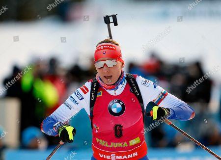 Slovakia's Anastasia Kuzmina competes in the women's 7,5 km sprint competition at the Biathlon World Cup event in Pokljuka, Slovenia
