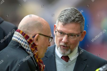 Craig Levein, manager of Heart of Midlothian speaks with Motherwell chairman Jim McMahon before the Ladbrokes Scottish Premiership match between Heart of Midlothian and Motherwell at Tynecastle Stadium, Edinburgh