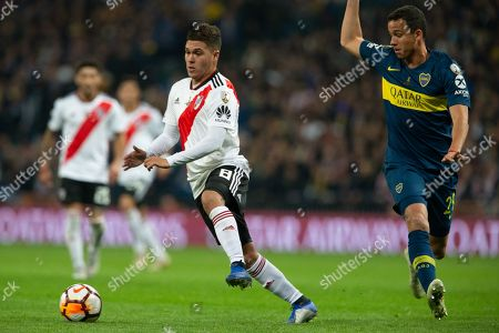 Juan Fernando Quintero of CA River Plate during the match between River Plate vs Boca Juniors of 2018 Copa Libertadores final match. Santiago Bernabeu Stadium. Madrid, Spain - 9 DIC 2018.