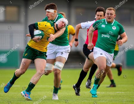 Ireland U19's vs Australia Schools. Australia's John Connolly is tackled by David McCan of Ireland