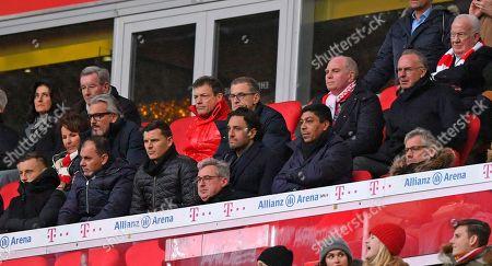 Stock Image of 08.12.2018, Football 1. Bundesliga 2018/2019, 14.  match day,  FC Bayern Muenchen - 1.FC Nuernberg, in Allianz-Arena Muenchen.  president Uli Hoeness (FC Bayern) and Vorstandsvorsitzender Karl-Heinz Rummenigge (FC Bayern Muenchen) auf Ehrentribuene. and Giovane Elber, Luca Toni,