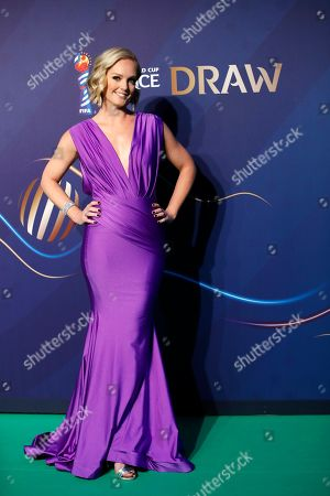 Amanda Davies poses prior to the women's soccer World Cup France 2019 draw, in Boulogne-Billancourt, outside Paris