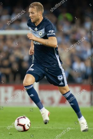 Melbourne Victory forward Ola Toivonen (11) runs the ball downfield at the Hyundai A-League Round 7 soccer match between Melbourne Victory v Adelaide United at Marvel Stadium in Melbourne, Australia.