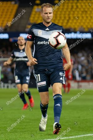 Melbourne Victory forward Ola Toivonen (11) runs for the ball at the Hyundai A-League Round 7 soccer match between Melbourne Victory v Adelaide United at Marvel Stadium in Melbourne, Australia.