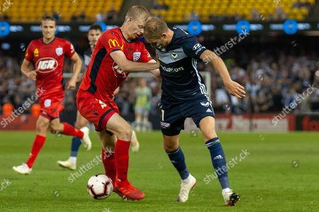 Melbourne Victory forward Ola Toivonen (11) competes for the ball at the Hyundai A-League Round 7 soccer match between Melbourne Victory v Adelaide United at Marvel Stadium in Melbourne, Australia.