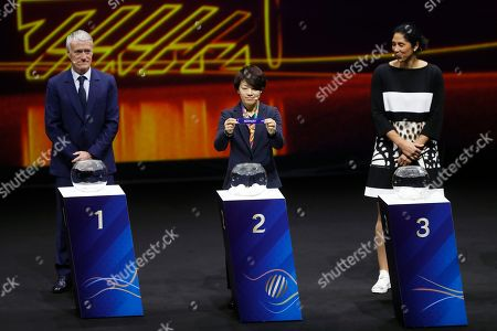 Stock Picture of Japanese soccer player Aya Miyama (C) shows the lot of Norway during the draw ceremony for the FIFA Women's World Cup France 2019 in Paris, France, 08 December 2018. The FIFA Women's World Cup will take place from 07 June until 07 July 2019 in France.