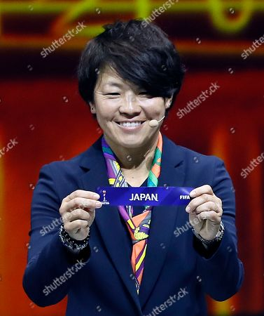 Japanese soccer player Aya Miyama shows the lot of Japan during the draw ceremony for the FIFA Women's World Cup France 2019 in Paris, France, 08 December 2018. The FIFA Women's World Cup will take place from 07 June until 07 July 2019 in France.