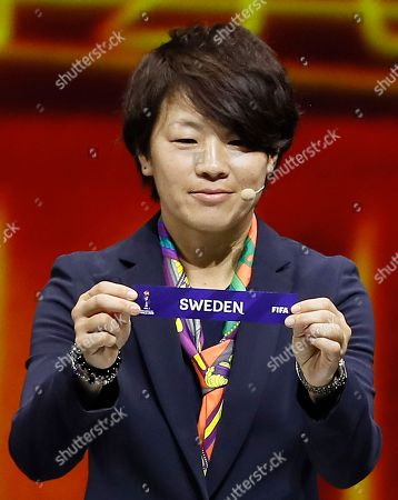 Stock Image of Japanese soccer player Aya Miyama shows the lot of Sweden during the draw ceremony for the FIFA Women's World Cup France 2019 in Paris, France, 08 December 2018. The FIFA Women's World Cup will take place from 07 June until 07 July 2019 in France.