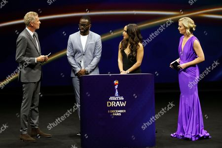Denis Brogniart (L) Louis Saha (2nd L), Alex Scott (2nd R) and Amanda Davies (R) during the draw ceremony for the FIFA Women's World Cup France 2019 in Paris, France, 08 December 2018. The FIFA Women's World Cup will take place from 07 June until 07 July 2019 in France.