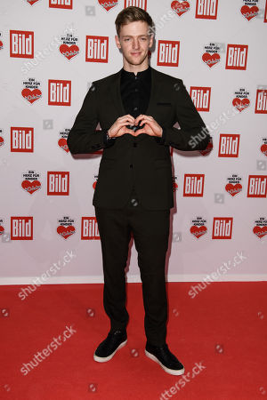 Stock Image of German actor Timur Bartels arrives for the charity gala Ein Herz fuer Kinder (A Heart for Children) in Berlin, Germany, 08 December 2018. German television channel ZDF and newspaper 'Bild' collected donations for children's charity organizations in Germany and the whole world.