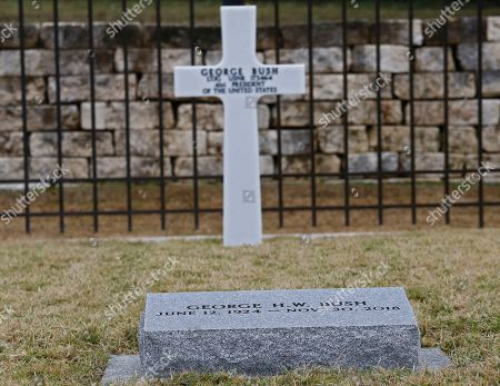 The headstone at the gravesite of former US President George H.W. Bush, his wife Barbara Bush and their daughter Robin at the Presidential Library and Museum in College Station, Texas, USA, 08 December 2018. Bush died at the age of 94 on 30 November 2018 at his home in Texas. George H.W. Bush was the 41st President of the United States (1989-1993).