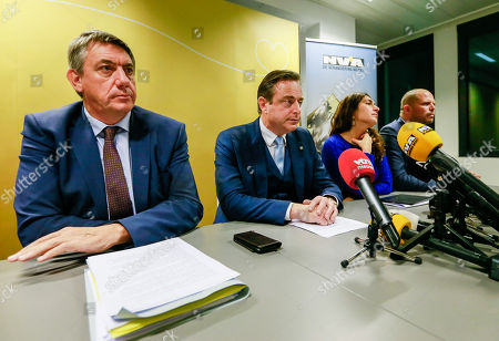 (L-R) Belgian Interior Minister Jan Jambon, Bart De Wever, New Flemish Alliance (Nieuw-Vlaamse Alliantie, N-VA) party leader, Belgium State Secretary for Poverty and Equal opportunities Zuhal Demir and Belgian Secretary of State for Asylum, Migration, member of NVA Party Theo Francken give a press conference after the NVA left the negotiation during a Minister Council in Brussels, Belgium, 08 December 2018. The NVA threatens to leave the Belgian government if Prime Minister Charles Michel goes to Marrakesh to defend the UN migration pact.