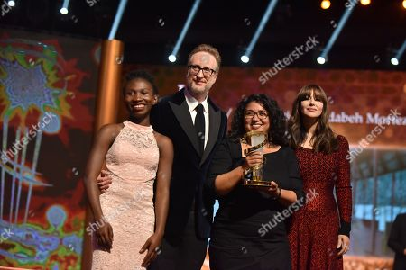 Stock Image of Joy Anwulika Alphonsus, James Gray,Sudabeh Mortezai awarded Etoile D'or and Monica Bellucci attend the closing ceremony of the 17th Marrakech International Film Festival , in Marrakesh, Morocco, 08 December 2018. The festival runs from 30 November to 08 December.