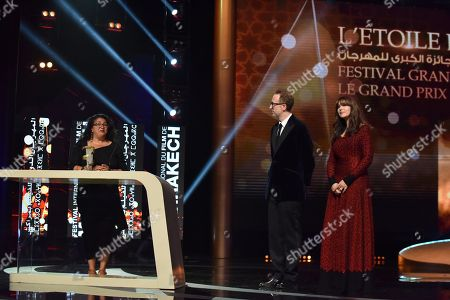Monica Bellucci (R), US Director James Gray (C) and Austrian director Sudabeh Mortezai (L) attend the closing ceremony of the 17th Marrakech International Film Festival, in Marrakesh, Morocco, 08 December 2018. The festival runs from 30 November to 08 December.