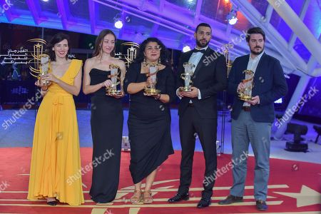 Stock Photo of Lila Aviles, awarded jury prize, Aenne Schwarz, awarded best performance by an actress, Sudabeh Mortezai, winner of Etoile D'or, Nidhal Saadi, awarded Best performance by an actor and Ognjen Glavonic, awarded best directing prize, pose during the Closing Ceremony of the 17th Marrakech International Film Festival, in Marrakesh, Morocco, 08 December 2018. The festival runs from 30 November to 08 December.