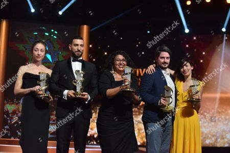 Aenne Schwarz, awarded best performance by an actress, Nidhal Saadi, awarded Best performance by an actor, Sudabeh Mortezai, winner of Etoile D'or, Ognjen Glavonic, awarded best directing prize, and Lila Aviles, awarded jury prize, pose during the Closing Ceremony of the 17th Marrakech International Film Festival, in Marrakesh, Morocco, 08 December 2018. The festival runs from 30 November to 08 December.