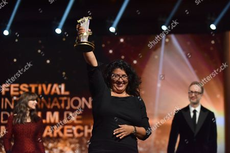 Sudabeh Mortezai (C), awarded Etoile D'or during the Closing Ceremony of the 17th Marrakech International Film Festival, in Marrakesh, Morocco, 08 December 2018. The festival runs from 30 November to 08 December.