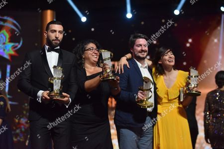 Nidhal Saadi, awarded Best performance by an actor, Sudabeh Mortezai, winner of Etoile D'or, Ognjen Glavonic, awarded best directing prize and Lila Aviles, awarded jury prize pose during the Closing Ceremony of the 17th Marrakech International Film Festival, in Marrakesh, Morocco, 08 December 2018. The festival runs from 30 November to 08 December.