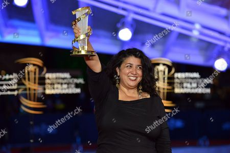 Sudabeh Mortezai, poses with her Etoile D'or award during the closing ceremony the 17th Marrakech International Film Festival, in Marrakesh, Morocco, 08 December 2018. The festival runs from 30 November to 08 December.