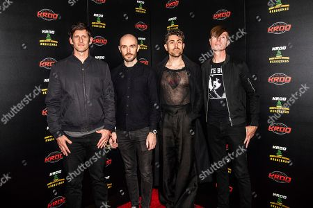 Adam Carson, Hunter Burgan, Davey Havok, Jade Puget. Adam Carson, from left, Hunter Burgan, Davey Havok and Jade Puget pose at the 2018 KROQ Absolut Almost Acoustic Christmas at The Forum, in Inglewood, Calif