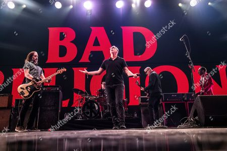 Jay Bentley, Greg Graffin, Brett Gurewitz, Brian Baker. Jay Bentley, from left, Greg Graffin, Brett Gurewitz and Brian Baker of Bad Religion performs at the 2018 KROQ Absolut Almost Acoustic Christmas at The Forum, in Inglewood, Calif