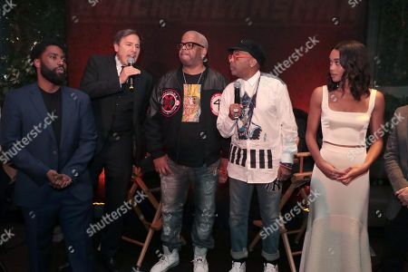 John David Washington, David O Russell, Composer Terence Blanchard, Director Spike Lee and Laura Harrier