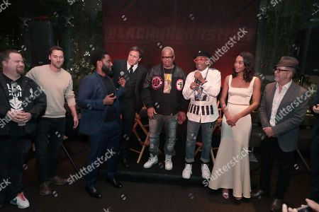 Paul Walter Hauser, Ryan Eggold, John David Washington, David O Russell, Composer Terence Blanchard, Director Spike Lee, Laura Harrier and Editor Barry Alexander Brown