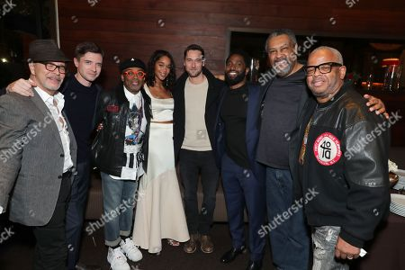 Editor Barry Alexander Brown, Topher Grace, Director Spike Lee, Laura Harrier, Ryan Eggold, John David Washington, Isiah Whitlock Jr. and Composer Terence Blanchard