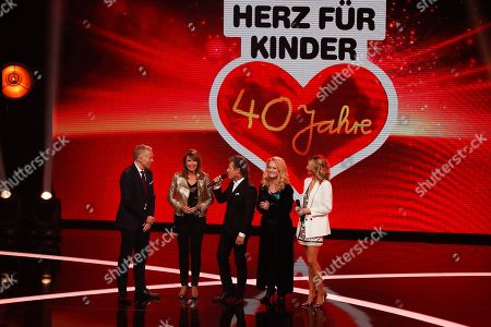Johannes B. Kerner, Ireen Sheer, Peter Maffay, Nicole and Ella Endlich during the Ein Herz Fuer Kinder Gala show in Berlin, Germany, 08 December 2018. German television channel ZDF and newspaper 'Bild' collected donations for children's charity organizations in Germany and the whole world.