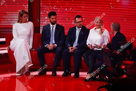 Franziska van Almsick, Alexander Beck, Andreas Meier and Nadine Meier during the Ein Herz Fuer Kinder Gala show in Berlin, Germany, 08 December 2018. German television channel ZDF and newspaper 'Bild' collected donations for children's charity organizations in Germany and the whole world.