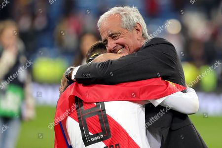 Stock Photo of River Plates' president Rodolfo D´Onofrio embraces the player Juan Fernando Quintero after winning the Libertadores Cup´s final second leg game at the Santiago Bernabeu Stadium in Madrid, Spain, 09 December 2018.River Plate won 5-3 on aggregate.