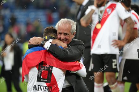 River Plates' president Rodolfo D´Onofrio embraces the player Juan Fernando Quintero after winning the Libertadores Cup´s final second leg game at the Santiago Bernabeu Stadium in Madrid, Spain, 09 December 2018.River Plate won 5-3 on aggregate.