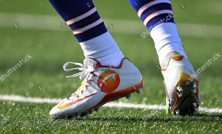 Buffalo Bills cornerback Ryan Lewis wears special shoes as part of the My Cause My Cleats campaign while warming up before an NFL football game against the New York Jets, in Orchard Park, N.Y