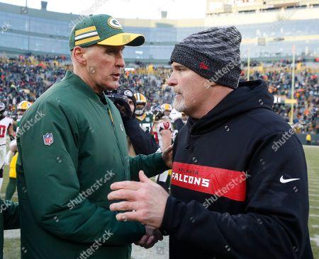 Green Bay Packers head coach Joe Philbin talks to Atlanta Falcons head coach Dan Quinn after an NFL football game, in Green Bay, Wis. The Packers won 34-20
