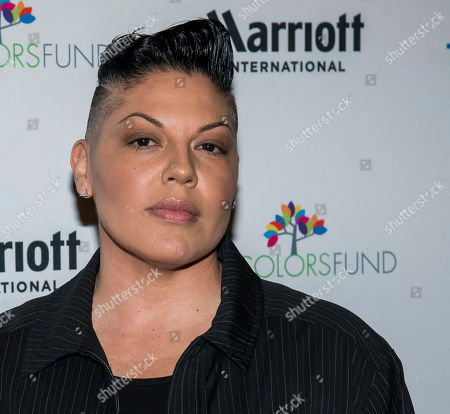 """Stock Image of Sara Ramirez posses backstage at Cyndi Lauper's 8th Annual """"Home for the Holidays"""" benefit concert at the Beacon Theatre, in New York"""