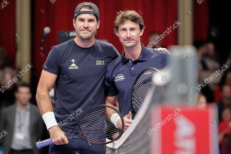 Tommy Haas and Juan Carlos Ferrero before the Men's Singles Final Champions Tennis match at the Royal Albert Hall, London.