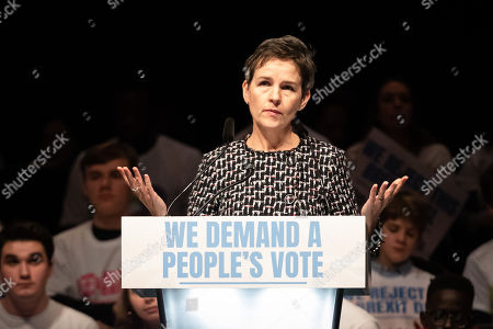 Stock Picture of Mary Creagh MP speaking at a joint political rally calling for a second referendum and people's vote by anti Brexit groups, Best for Britain and the People's Vote campaign, held at the ExCel Centre